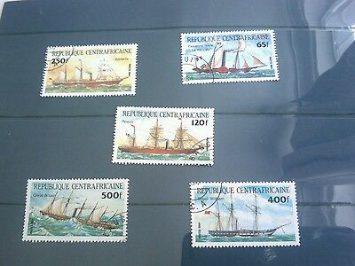 Central african republic 1984 transport complete set of 5 stamps