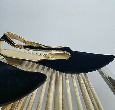 VTG 60's/Moroccan/Velvet/Gold/Metallic/Flats/Pointy Toe/Black/Vegan/Slippers/9