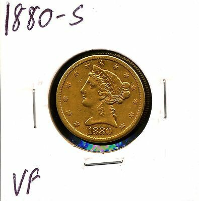 1880-S G$5 Liberty Head Gold Half Eagle in VF Condition