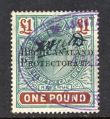 1913 Bechuanaland Bft:26 £1 Green & Brown.A very fine scarce revenue.