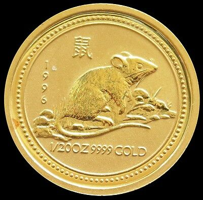 1996 Gold Australia $5 Dollar Lunar Year Of The Mouse Coin Mint State Condition