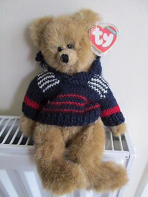 """TY ATTIC TREASURE BEAR """"MALCOLM"""" 4th Gen Wearing Knitted Jumper RARE COLLECTABLE"""
