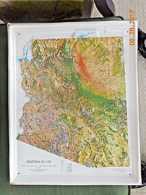 Arizona In 3-D Relief Map By Kistler Graphics-1976 Mounted 17 X 21