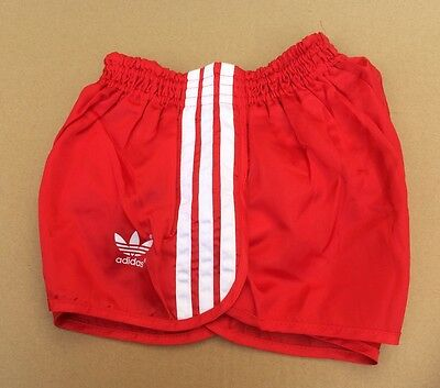 Vintage adidas Sprinter Shorts, Shiny Red with 3 White Stripes, size 34""