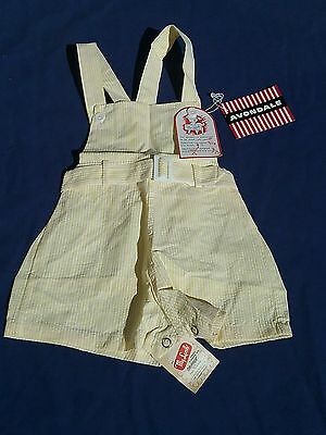 Vintage 1940 1950s baby outfit organic new tag romper NWT seersucker reborn doll