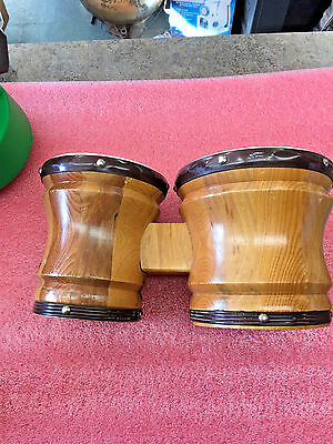 """BS8 Old VINTAGE Wood Base BONGO DRUMS 6.5"""" dia and 5.5"""" dia good condition"""