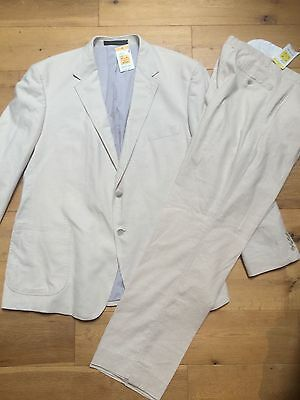 """BNWT M&S Mens Cream Linen Single Breasted Suit @ Size 48"""" Chest 38"""" Waist NEW"""