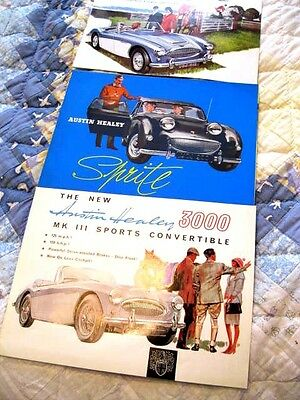 Lot of 3 Austin Healy Original Car Brochure 2- Healy 3000 and 1 for Sprite Mint