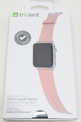 Trident Leather Watch Strap for Apple Watch 42mm - Light Pink - NEW