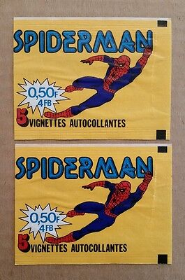 Spiderman Trading Card Wrappers (2),French Market Distribution,1970's-80's