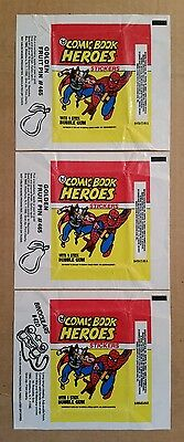 Comic Book Heroes,Topps Bubble Gum Wrappers,Lot of (3),1974