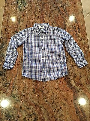 Boy's OLD NAVY Plaid Button Down Long Sleeve Shirt Size 5T