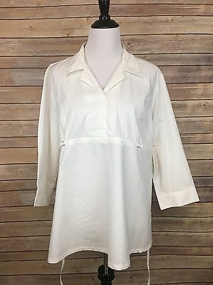 NEW Womens Maternity Blouse size Large White Dress Shirt Top L A5
