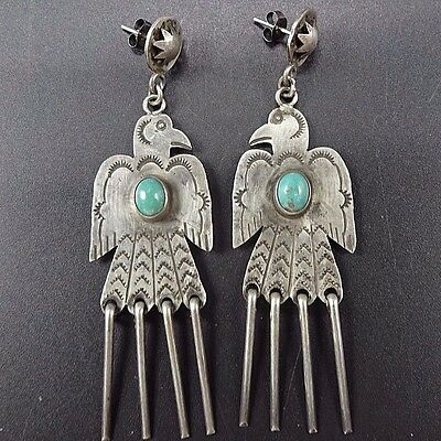 Signed Vintage NAVAJO Sterling Silver & TURQUOISE EARRINGS ThunderBird Dangles