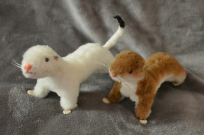 Rare Steiff Weasel and Ermine Pair Wiggy and Waggy with buttons (missing tail)