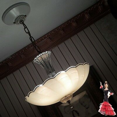 AWESOME LARGE 1930's VINTAGE ART DECO ANTIQUE Ceiling Light Fixture CHANDELIER