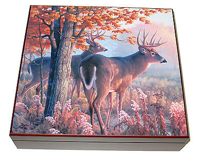 20 Cigar Deer Antlers Hunter Emblem Cherry Cigar Humidor Gift Box