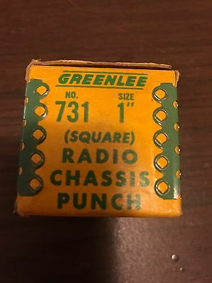 """Greenlee Radio Chassis Square Punch #731 1""""  In Box 1-3041 Excellent"""