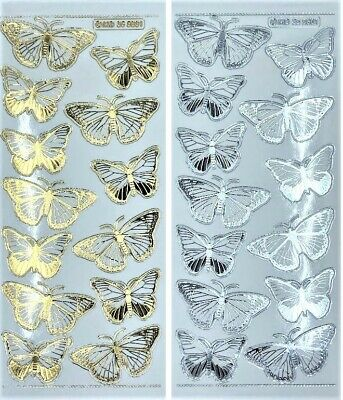 EMBOSSED BUTTERFLIES Peel Off Stickers Butterfly Gold Silver on Clear Design 2
