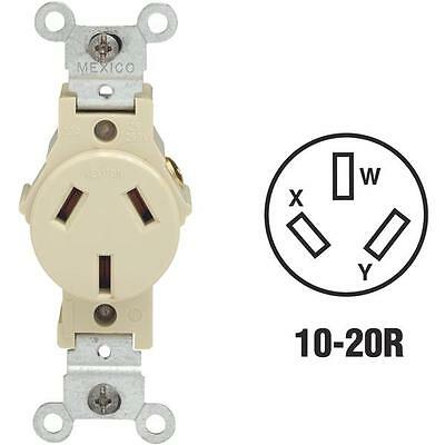 10 Pk Leviton 20A Ivory 3-Wire 10-20R Non-Grounding Single Outlet 0030503200I