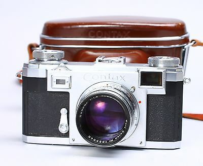 ZEISS IKON CONTAX RANGEFINDER IIa W/ SONNAR 50MM F/1.5 LENS & LEATHER CASE