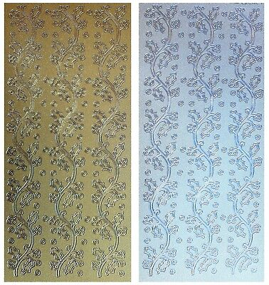 HOLLY BORDERS Peel Off Stickers Pearl Shimmer Christmas Winter Gold or Silver