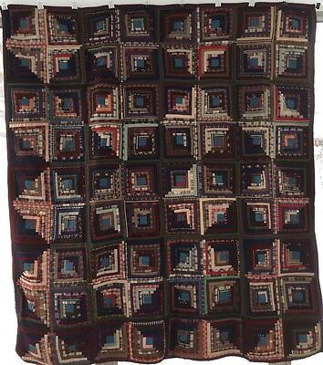 Antique Hand-Pieced Primitive Log Cabin Quilt  No Wear Red Blue Brown 1800s