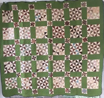 Antique Quilt Great Fabrics 1875-1885 Pinwheel 8 pt Star Green Madder Unused