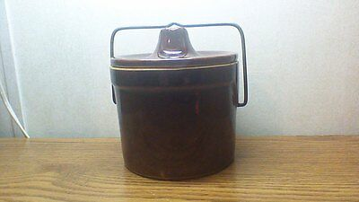 """Vintage Stoneware Cheese Jar with Lid Brown Crock Pottery Height 6"""""""