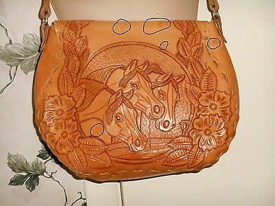 VTG Vintage 70's Hand Tooled Leather Purse Shoulder Saddle Bag Western Cowgirl