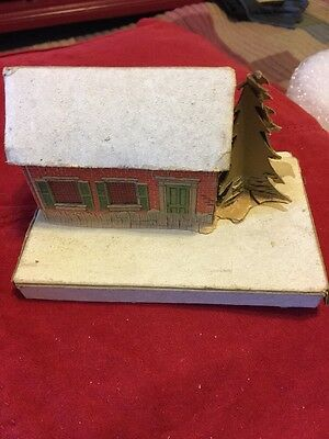 Vintage Cardboard Christmas  Putz House With Tree Made In USA