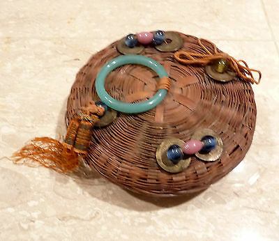 VINTAGE CHINESE SEWING BASKET with Chinese Coins and PEKING GLASS RING and BEADS