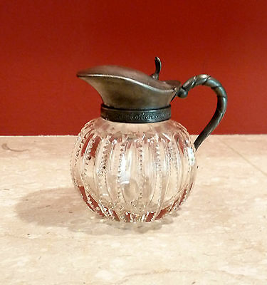 Antique Cut Glass And Silverplate  Pitcher