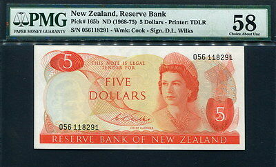 New Zealand 1968-75, 5 Dllars, P165b, D. L. Wilks,rare sign, PMG 58 AUNC