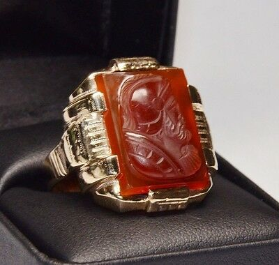 Antique 10K Men's Carnelian Intaglio Soldier Solid Gold Large Ring Carved Roman