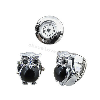 Fashion Retro Owl Finger Clamshell Ring Watch Women Black elastic Watchband
