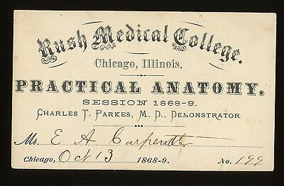 1868 -69 RUSH MEDICAL COLLEGE Chicago  LECTURE ON ANATOMY ADMISSION CARD