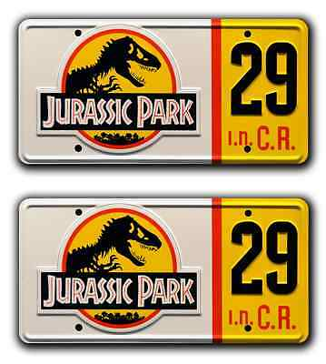 Jurassic Park | Hammond's Jeep | #29 | STAMPED Replica Prop License Plate Combo