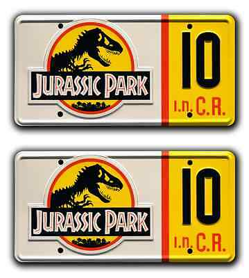 Jurassic Park | Jeep Wrangler | #10 | STAMPED Replica Prop License Plate Combo
