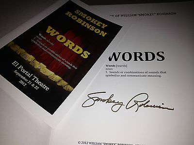 Smokey Robinson Signed Words Booklet With Words Program