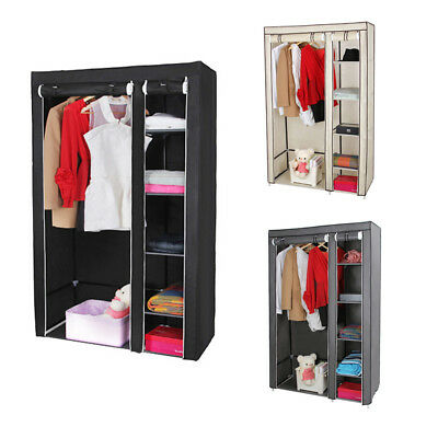 Double Canvas Wardrobe Cupboard Clothes Hanging Rail Garment Storage Shelves