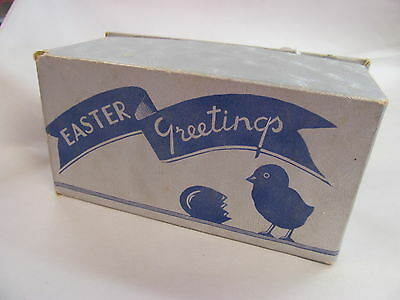 Vintage EASTER GREETINGS Candy Box~SIlver with Blue Chick & Egg