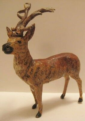 Old 1930s German Lead Christmas Reindeer for Village Putz