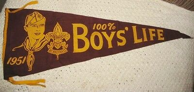 Old 1951 Boyscout Pennant - Boys Life Magazine Advertising Felt W/ Face of Scout