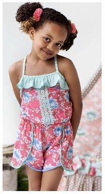 Matilda Jane Size 8 Tropical Butterfly Romper Pink Blue Mint Green Floral Poms