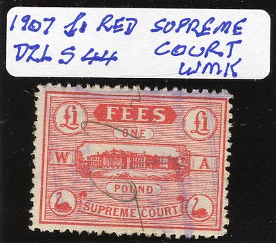 Western Australia Revenue Stamp Duty  Supreme Court £1 red  Dzl S44 wmk used