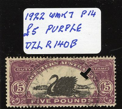 Western Australia  Revenue Stamp Duty 1922 £5 purple Dzl R140B