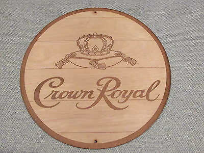 Crown Royal Whiskey Wood Sign barrel top end style