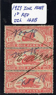 Western Australia  Revenue Stamp Duty 1923 1d red Dzl 142B zinc plate strip of 3
