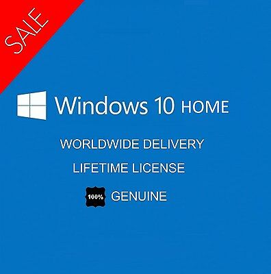 WINDOWS 10 HOME PRODUCT KEY AND DOWNLOAD - 100% GENUINE - 32/64 Bit